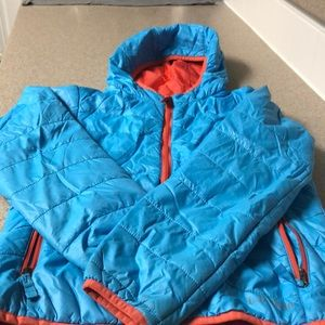 orange and blue LL Bean light weight jacket